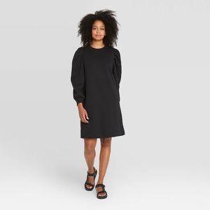 Women's Puff Long Sleeved Sweater Dress